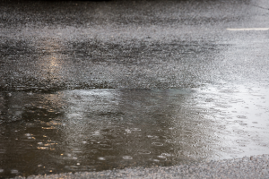 Spring rain puddles on an asphalt road in Orlando, Florida