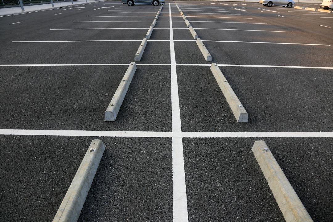 Freshly repaired asphalt parking lot in Kissimmee, Florida