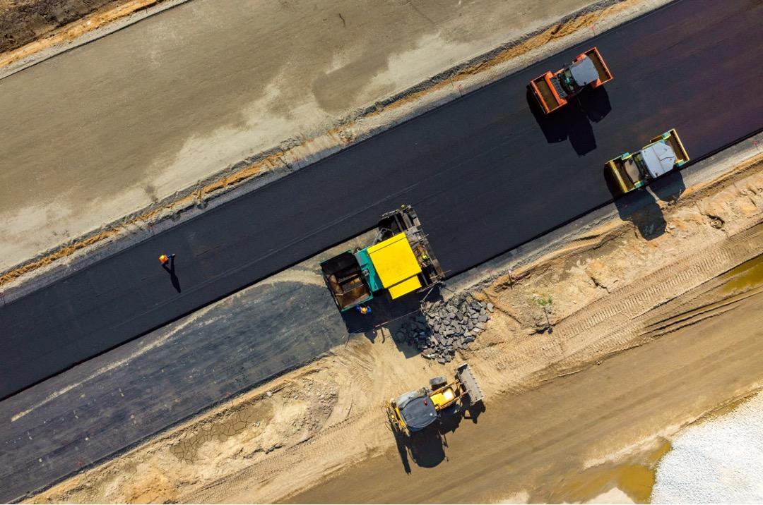 Paving a new asphalt road in Jacksonville, Florida